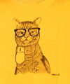 """Geek cat"" Painting Fabric painting © 2013 Painter Nekane García Guinea"