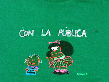 """Public Education"" Fabric painting © 2012 Nekane García Guinea"