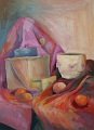 """Still life with oranges"" Painting Tempera on paper © 2002 Painter Tycjan Bartus"